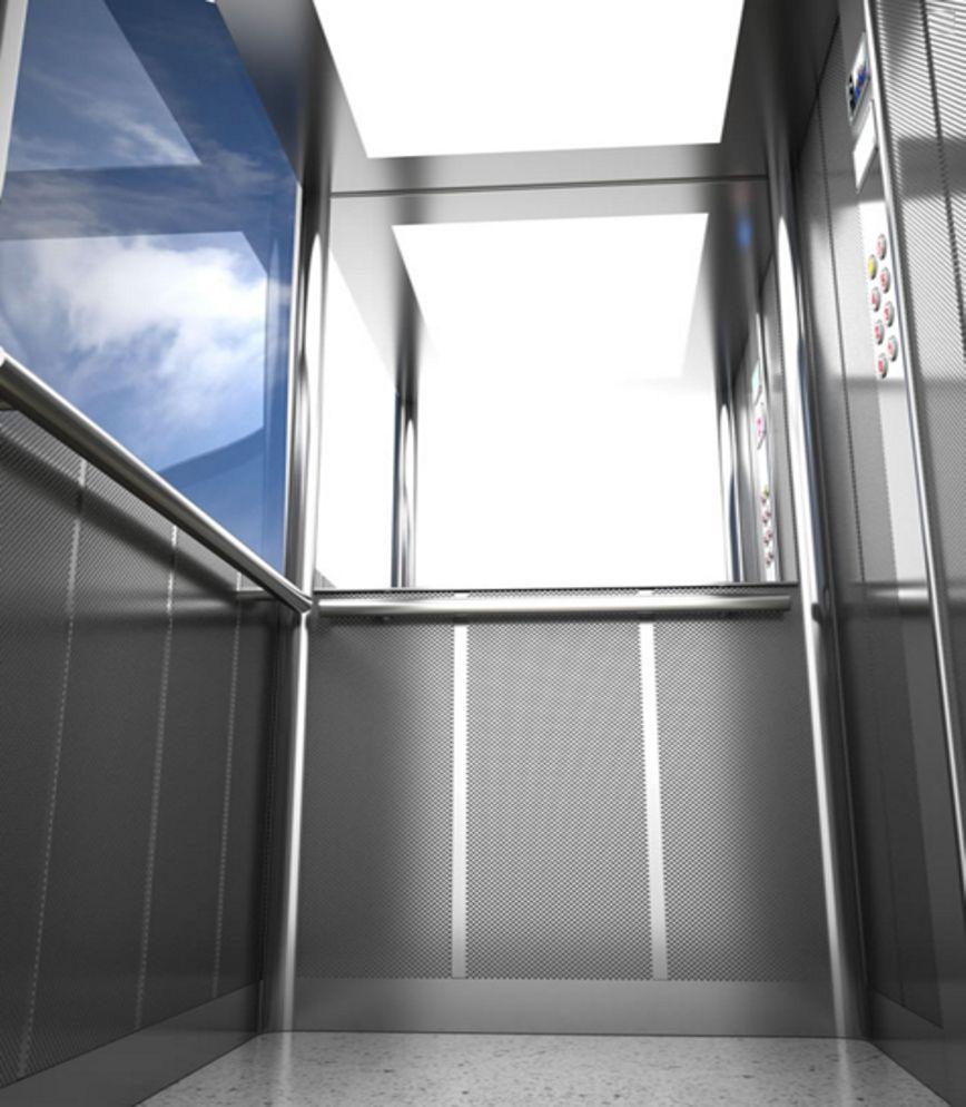Ascensore per esterno con parete panoramica in vetro sia per ascensore con locale macchine che - Ascensori da esterno prezzi ...