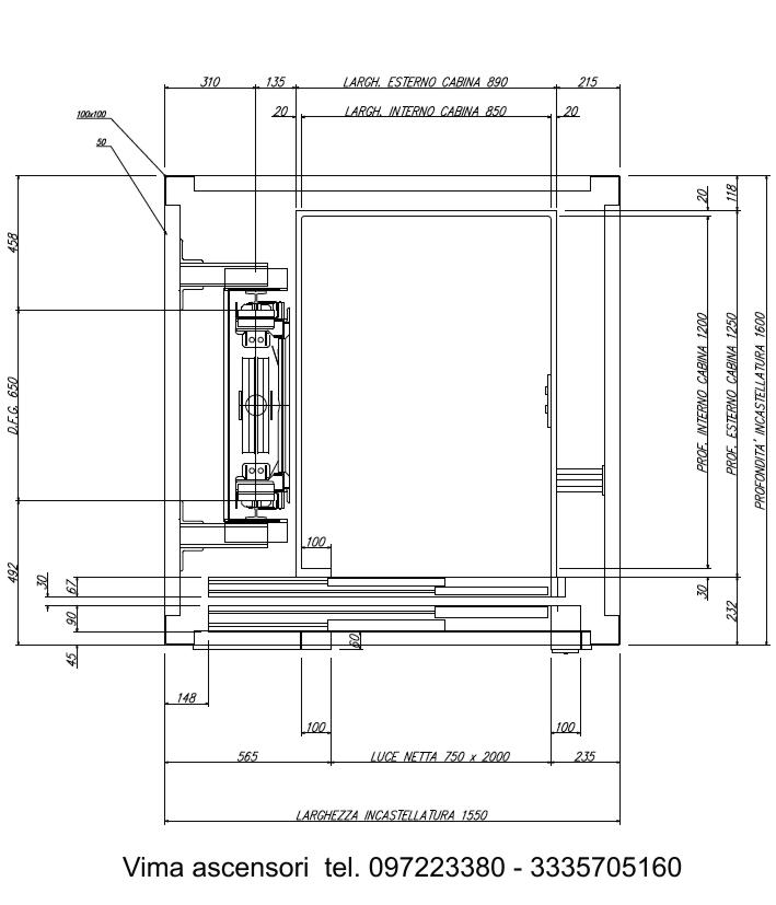 Dimensioni E Misure Vano Piattaforme Elevatrice Mini Ascensore